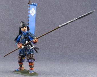 Japanese Medieval Hand Painted Toy Soldiers 1/32 Scale Samurai Infantryman 54mm Miniature Antique Action Figurine