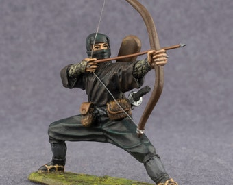 Japanese Medieval Figures Ninja wit Bow Collection Toy Soldier in scale 54mm Tin Metal 2 1/4 inches Action Figurines