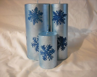 Snowflake Candle Set-snowflake-winter candles-Christmas-3 candles set-