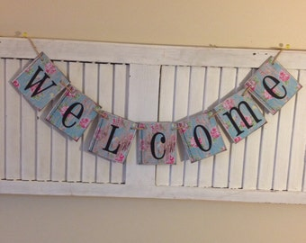 Welcome Banner Sign Bunting Garland Home Decor Distressed Shabby Aqua Chippy