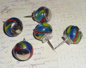 Glass big hole bead Push Pins Thumb tacks - Marble