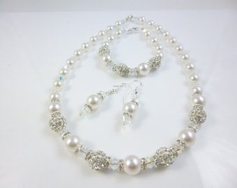 Crystal and Pearl Necklace Set, Pearl Necklace, Wedding Pearl Jewelry, Bridal Necklace Set