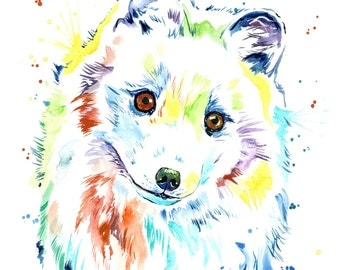 Fox Art, Arctic Fox, Canadian wildlife, fox watercolour, fox painting, fox theme, woodland theme, woodland nursery, arctic theme