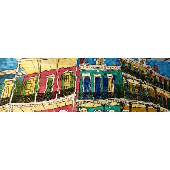 "New Orleans, Louisiana - French Quarter - Architectural Art: 12""x36"" Original Painting"