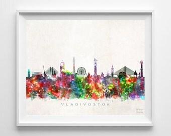 Vladivostok Skyline Print, Russia Print, Vladivostok Poster, Cityscape, Wall Decor, City Skyline, Living Room Decor, Back To School