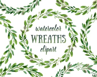 Watercolor Wreaths Clipart Clip Art Minimalist Green Leaves Laurel - instant digital download - diy printable poster, logo, card, tag, label