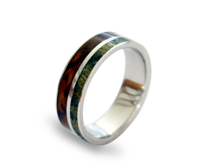 Titanium mens ring with snakewood and amber inlay