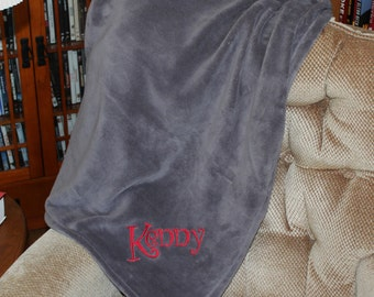 Monogrammed Plush Throw ----SUMMER SALE.... SAVE Five Dollars!!!
