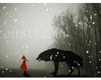 "Red riding hood art,Once upon a time, little red riding hood art, print 2 ""Naivety"""