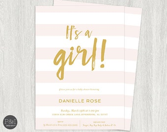 Baby Shower Invitation | Girl Baby Shower Invitation | Pink and Gold | Digital Printable File 5x7