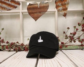 MIDDLE FINGER Baseball Hat Low Profile Embroidered Baseball Caps Dad Hats Black