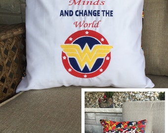 Wonder woman pillow / Embroidered pillow / custom pillow / customization avaliable