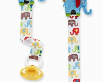 Elephant Paci Clip with personalization by mud pie