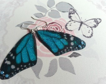 Magical Pair of Teal-Blue Fairy Wing Earrings