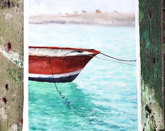 Watercolor painting - Boat from Nice, France