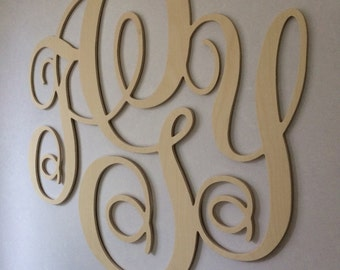 "Decorative Wall Monogram! 23"" tall! 1/4"" thick birch plywood. Unfinished."