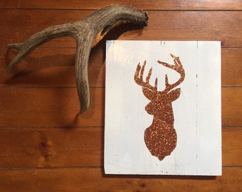 Buck Head Copper Glitter Rustic Wall Hanging