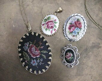 Lot Petit point needlework jewelry brooches chain