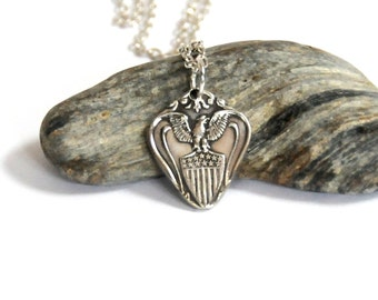 united states necklace, heart necklace, united states seal necklace