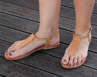Sandals Greek handmade  Leather  Natural Color Women's