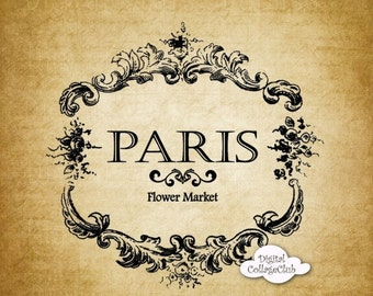80% OFF SALE Vintage Paris French Label Silhouette Digital Download for Tea Towels, Totes, Papercrafts, Image Transfer, Pillows
