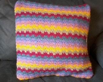 Rainbow Crochet  Cushion  Cover