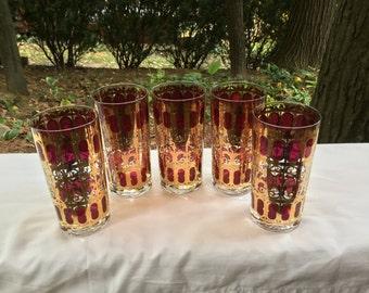 Mid Century Modern Culver Cranberry Scroll Highball Glass Set Of Five 22 Karat Gold Barware Mad Men