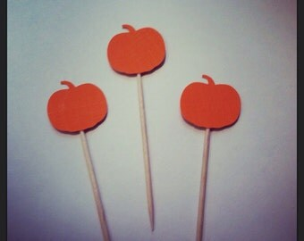 25 Orange Pumpkin Cupcake Toppers or Appetizer Picks for Thanksgiving, Party, Harvest, Party, Festival, Event