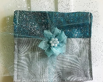 Dog Ring Bearer Collar Pouch for Wedding- Gray and Teal Wedding Ring Pouch
