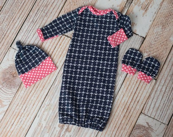 Baby Nautical Anchors Beach or Lake Baby Gown, Hat, Scratch Mittens Set Navy Anchors and Pink Polka Dots Newborn Coming Home