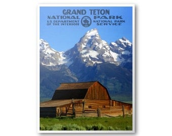Grand Teton National Park Travel Poster (T. A. Moulton Barn)