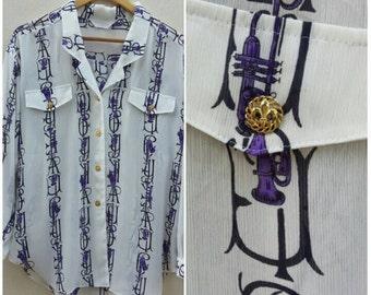 Vintage Print Blouse / Chiffon Silk Blouse Size L