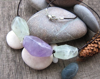 Multi stone necklace Amethyst jewelry Leather jewellery Bohemian necklace Amethyst necklace Fluorite choker Gemstone necklace Natural stone