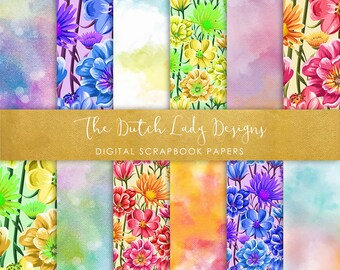 Digital Scrapbook Paper - Spring Blossoms - 12 Papers in .JPEG File - INSTANT DOWNLOAD