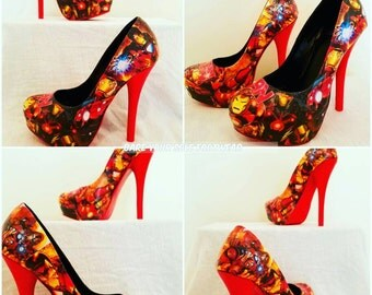 NEW! Iron Man Made to Order Comic High Heels! Adorable and perfect for weddings, prom, homecoming, Comic-Con, parties, Halloween, etc!