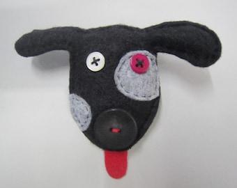 Dog brooch, black felt dog brooch, spotty dog brooch, mother's day present, birthday present