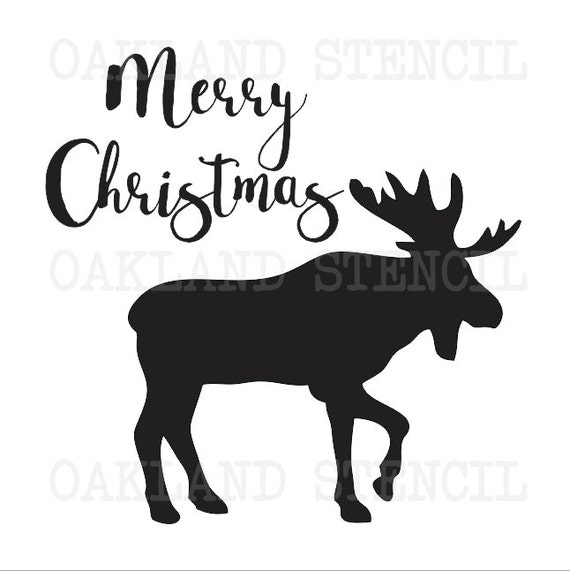 Christmas holiday stencilmerry christmas w moose for Merry christmas letter stencils