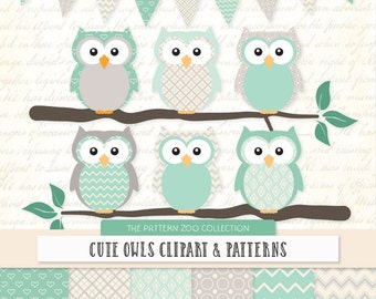 Patterned Mint Owls Clipart and Digital Papers - Mint Owl Clipart, Owl Vectors, Baby Owls, Cute Owls