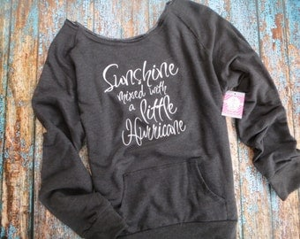 Sunshine mixed with a little Hurricane, wide neck Sweatshirt, Raw edge neck sweatshirt with pouch, Women's fit S-2XL