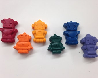 25 Robot Shaped Crayons, Easter Basket Filler, Recycled Crayon, Robot Birthday Party, End of the year, Classroom Valentine, Robot Valentine