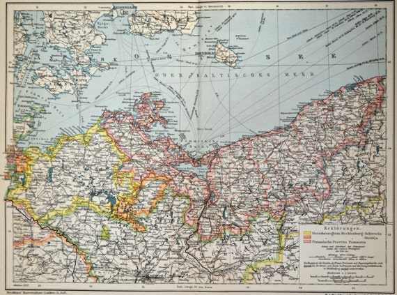 Mecklenburg and Pomerania map at the beginning of the 20th century.  Old book plate,1901.  113 years lithograph. 12'3 x 9'8  inches.