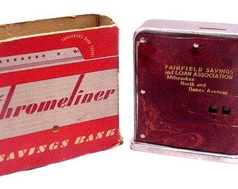 1930s Chromeliner Chicago IL Fairfield Savings Bank with Box