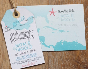 Wedding Invitation Mexico Save The Date Magnet Luggage Tag And Information Card SET Design Fee