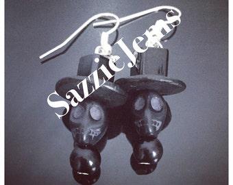 Halloween black tophat skull earrings