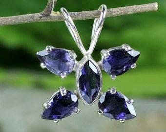 Iolite Stone Pendant, Iolite Pendant, Prong Set Pendant, Butterfly Pendant, Butterfly Design Pendant, Designer Pendant, 925 Sterling Silver