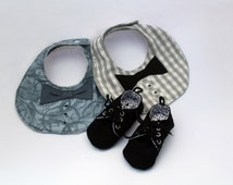 Baby boy gift set, Black soft soled shoes and 2 bow tie bibs,  Black, grey and white, Oxford style shoes, Sneakers, Booties, Great gift