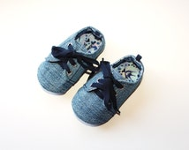 Baby soft soled oxford style shoes/sneakers in denim. Baby to toddler lace up, unisex shoes, versatile colour. Handmade in Australia.
