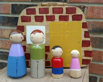 READY TO SHIP - Take Along Dollhouse - Peg Doll Family of 4 with Portable Doll Play Box
