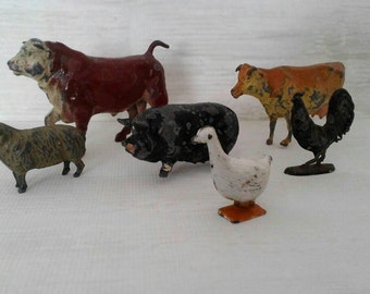 6 x Vintage, British Lead / Metal, Toy Farm Animals.