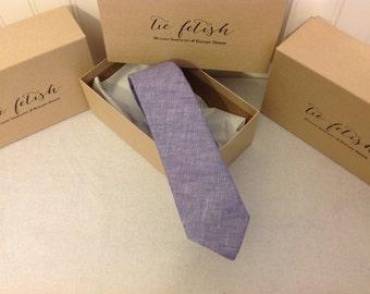Lavender linen neck tie